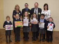 The Winners and Runners up, along with Catherine Thompson-Flint, Housing Manager for Guinness Northern Counties, James Bonsall and Glynn Sowerby from T.G. Sowerby Developments and Susan Boulton, Oakfield Primary headteacher